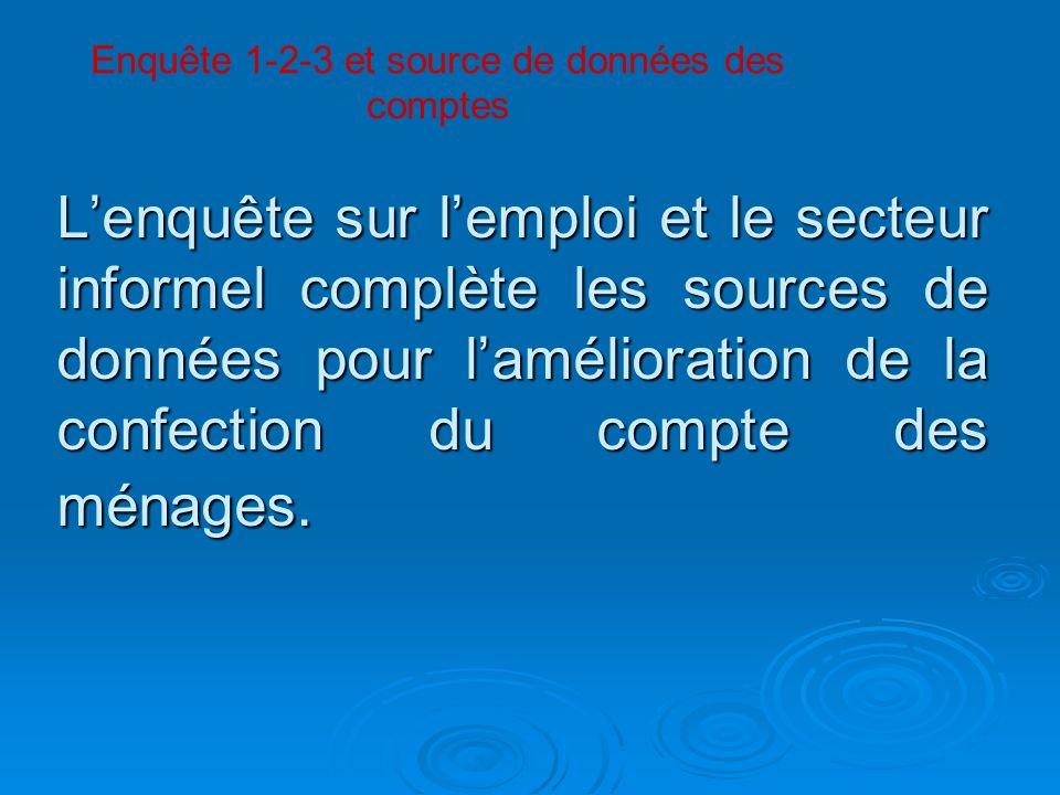 Lenquête sur lemploi et le secteur informel complète les sources de données pour lamélioration de la confection du compte des ménages. Enquête 1-2-3 e