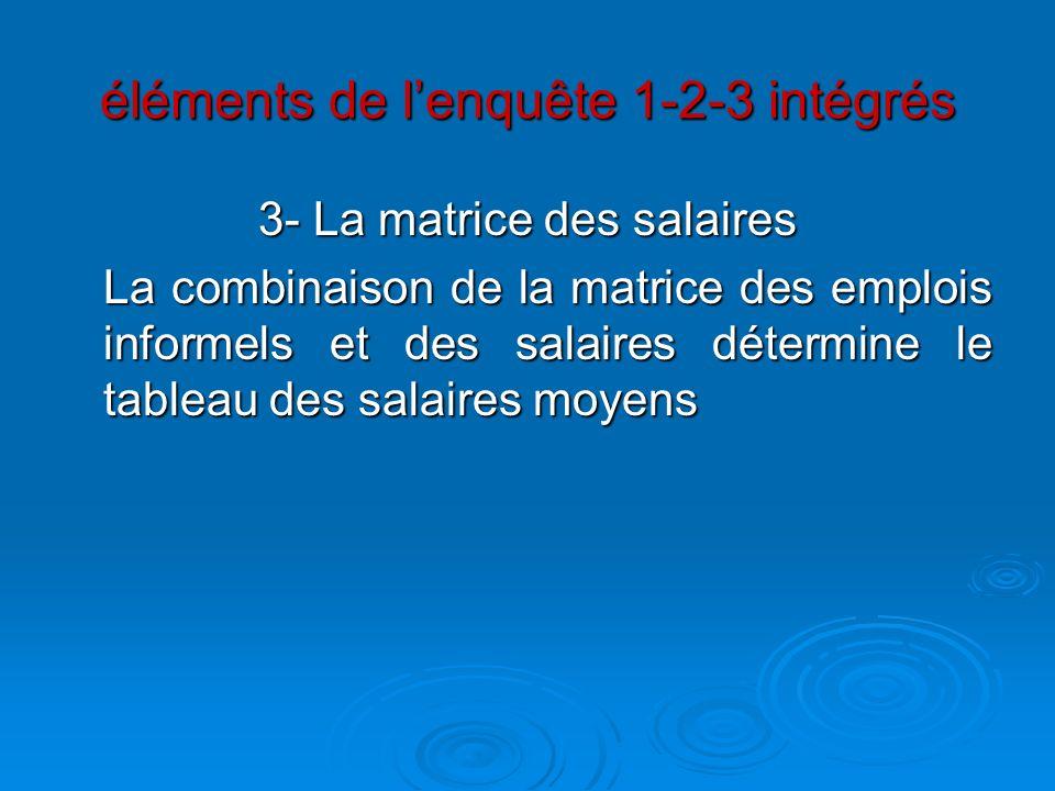éléments de lenquête 1-2-3 intégrés 3- La matrice des salaires La combinaison de la matrice des emplois informels et des salaires détermine le tableau