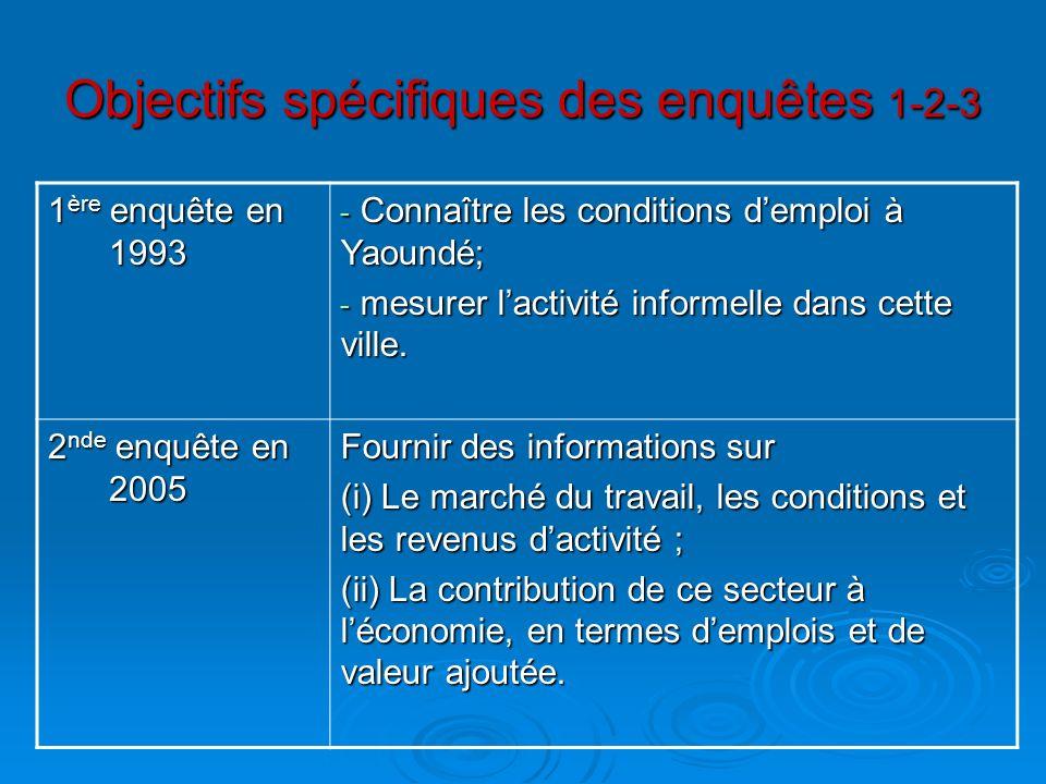 Objectifs spécifiques des enquêtes 1-2-3 1 ère enquête en 1993 - Connaître les conditions demploi à Yaoundé; - mesurer lactivité informelle dans cette