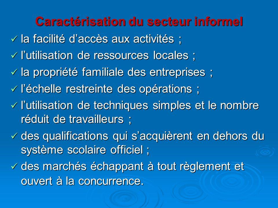 Caractérisation du secteur informel la facilité daccès aux activités ; la facilité daccès aux activités ; lutilisation de ressources locales ; lutilis