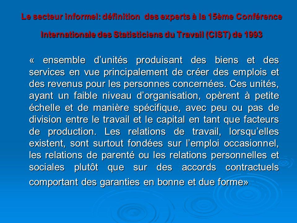 Le secteur informel: définition des experts à la 15ème Conférence Internationale des Statisticiens du Travail (CIST) de 1993 « ensemble dunités produi