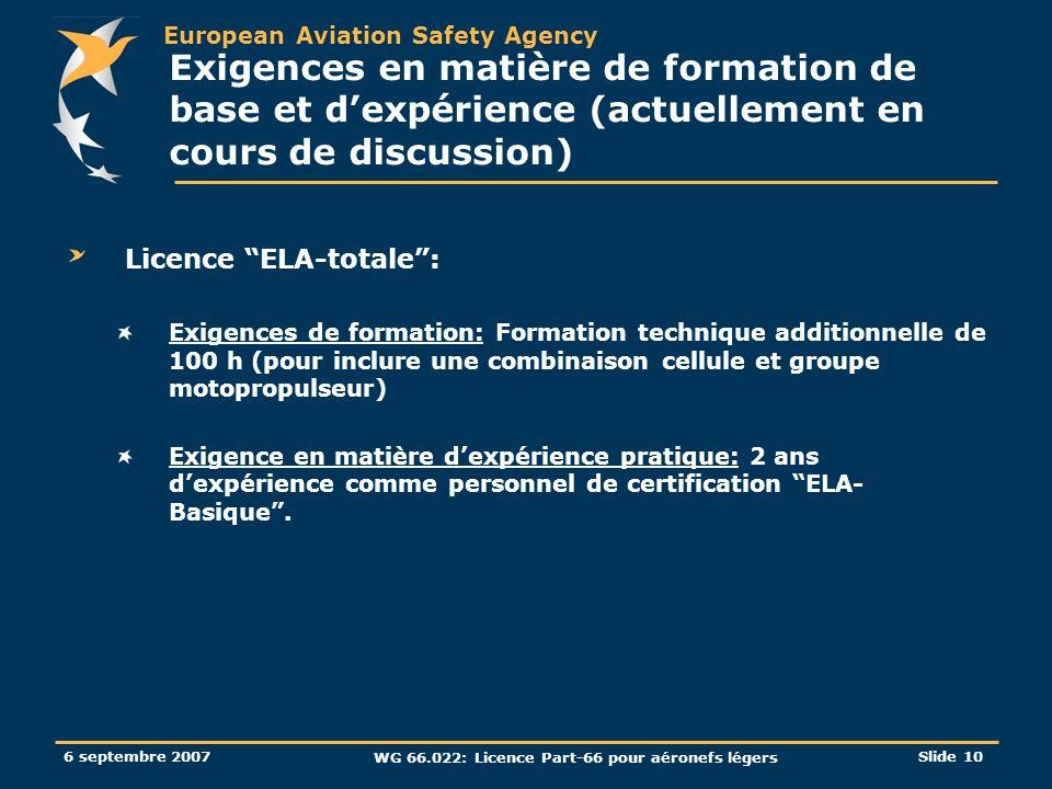 European Aviation Safety Agency 6 septembre 2007 WG 66.022: Licence Part-66 pour aéronefs légers Slide 10 Exigences en matière de formation de base et