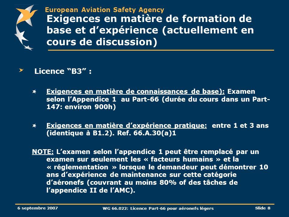 European Aviation Safety Agency 6 septembre 2007 WG 66.022: Licence Part-66 pour aéronefs légers Slide 8 Exigences en matière de formation de base et