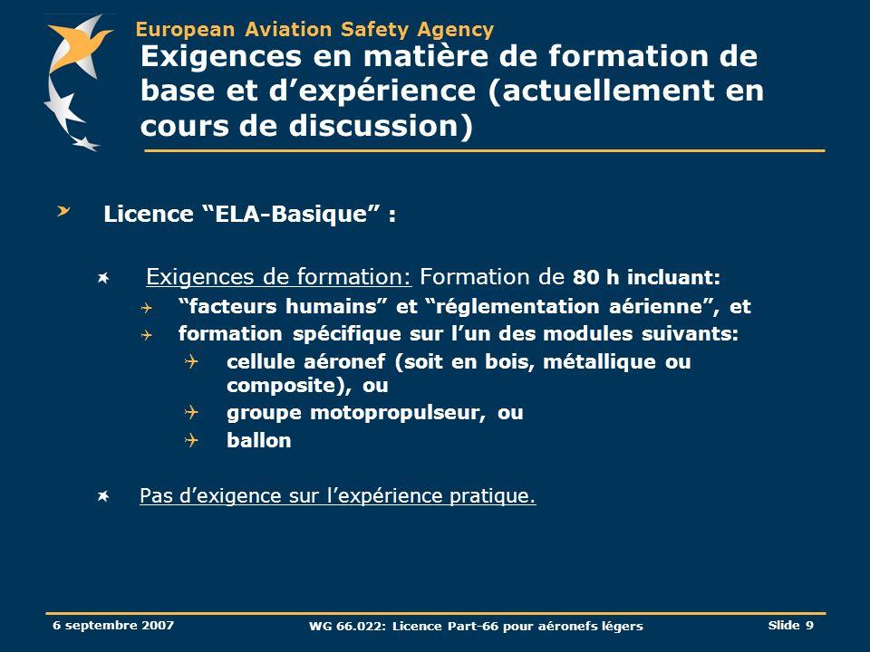European Aviation Safety Agency 6 septembre 2007 WG 66.022: Licence Part-66 pour aéronefs légers Slide 9 Exigences en matière de formation de base et