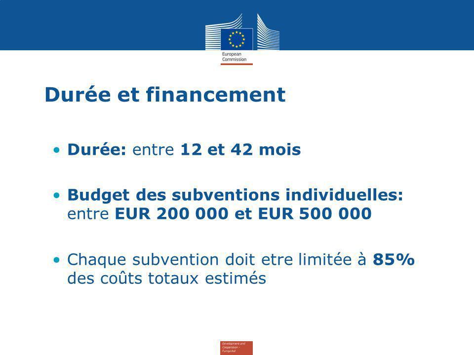 Durée et financement Durée: entre 12 et 42 mois Budget des subventions individuelles: entre EUR 200 000 et EUR 500 000 Chaque subvention doit etre limitée à 85% des coûts totaux estimés
