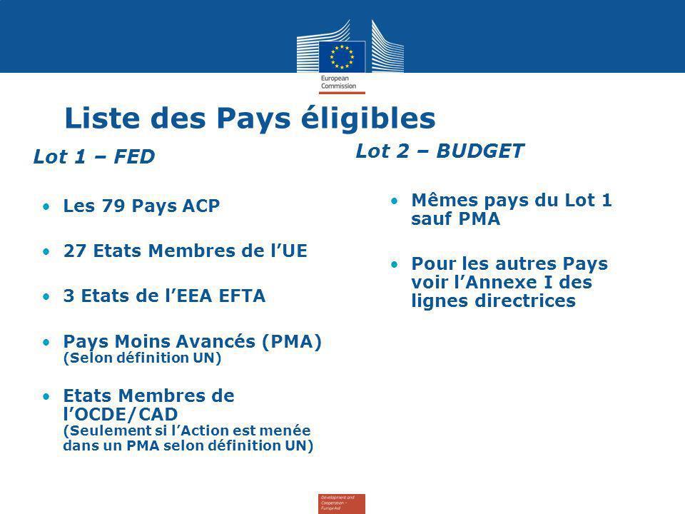 Liste des Pays éligibles Lot 1 – FED Les 79 Pays ACP 27 Etats Membres de lUE 3 Etats de lEEA EFTA Pays Moins Avancés (PMA) (Selon définition UN) Etats Membres de lOCDE/CAD (Seulement si lAction est menée dans un PMA selon définition UN) Lot 2 – BUDGET Mêmes pays du Lot 1 sauf PMA Pour les autres Pays voir lAnnexe I des lignes directrices
