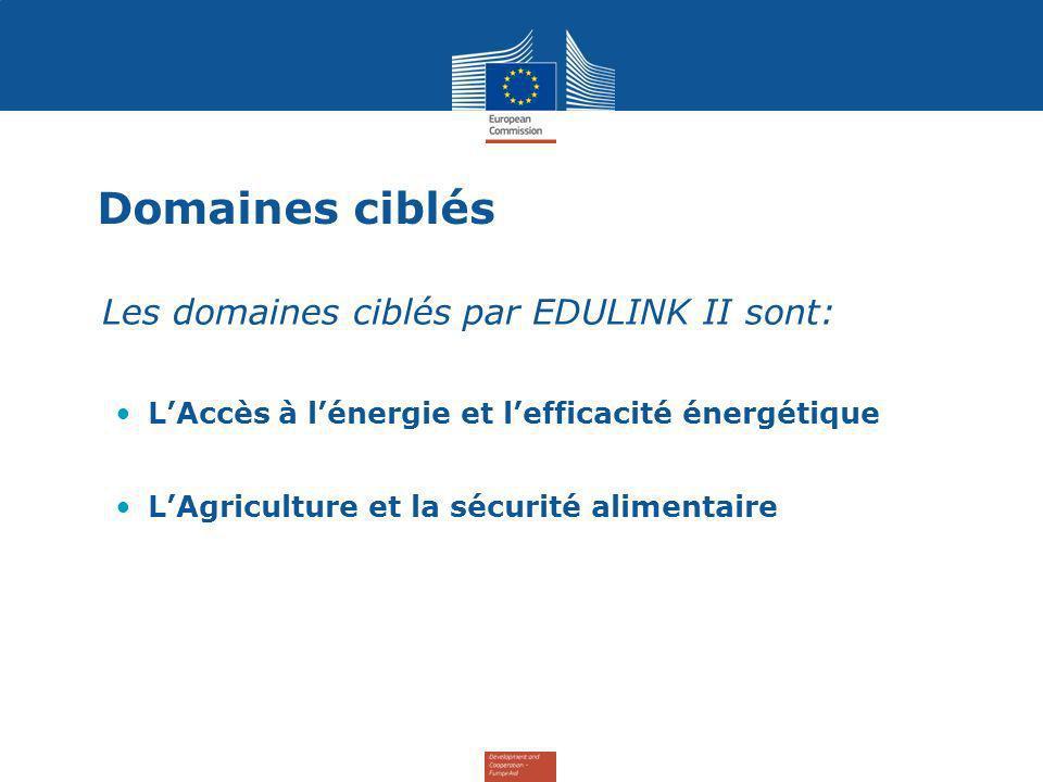 Domaines ciblés Les domaines ciblés par EDULINK II sont: LAccès à lénergie et lefficacité énergétique LAgriculture et la sécurité alimentaire