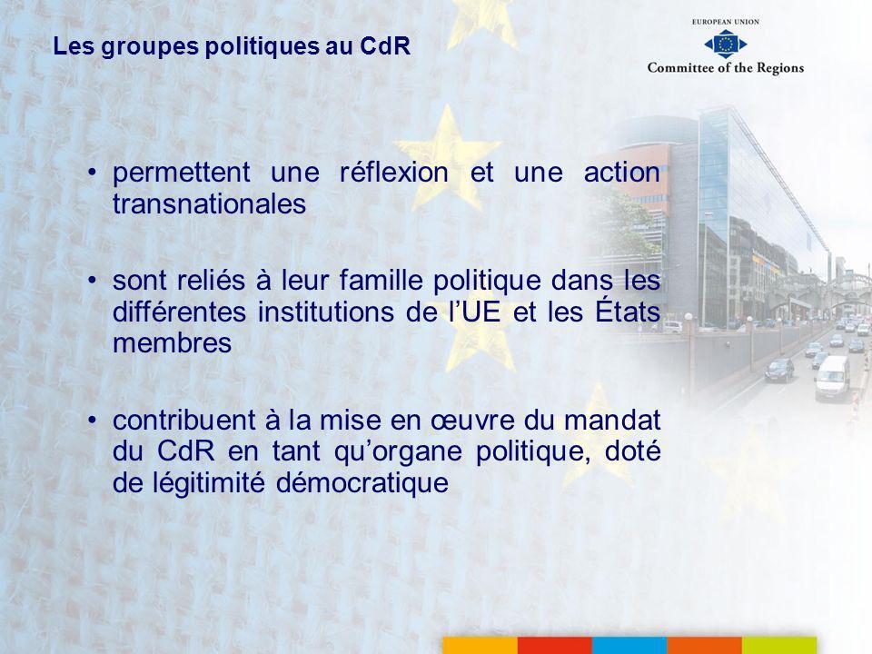 Les groupes politiques au CdR permettent une réflexion et une action transnationales sont reliés à leur famille politique dans les différentes institutions de lUE et les États membres contribuent à la mise en œuvre du mandat du CdR en tant quorgane politique, doté de légitimité démocratique