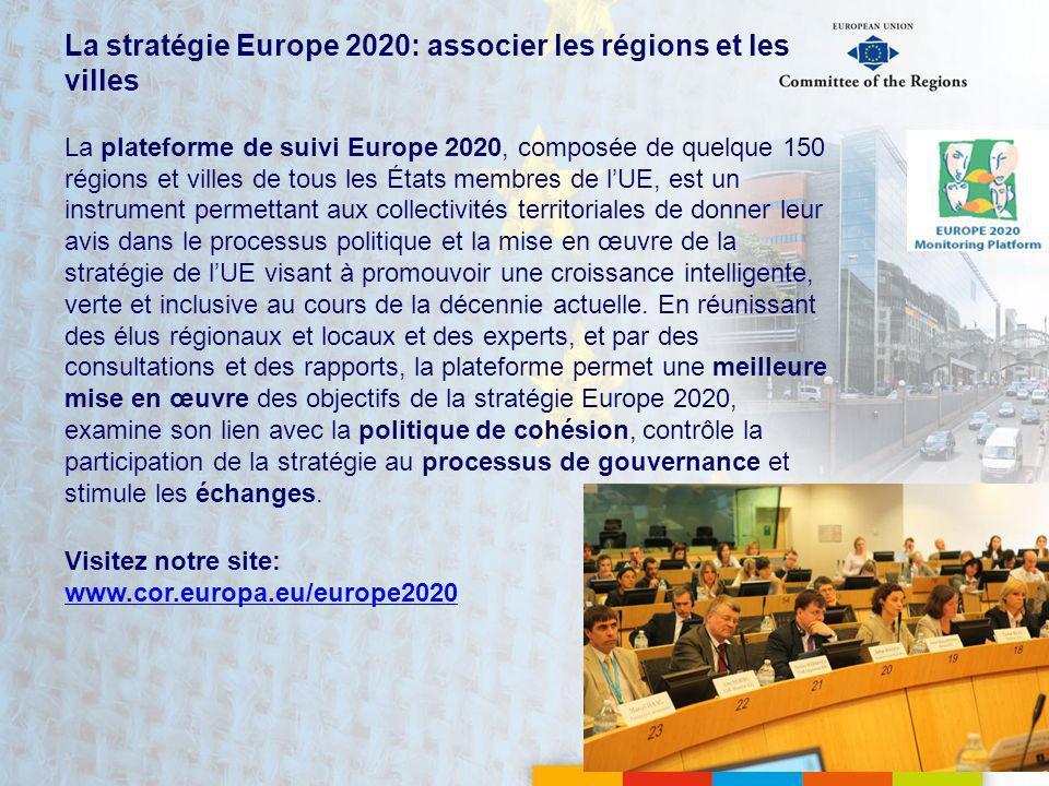 La stratégie Europe 2020: associer les régions et les villes La plateforme de suivi Europe 2020, composée de quelque 150 régions et villes de tous les États membres de lUE, est un instrument permettant aux collectivités territoriales de donner leur avis dans le processus politique et la mise en œuvre de la stratégie de lUE visant à promouvoir une croissance intelligente, verte et inclusive au cours de la décennie actuelle.