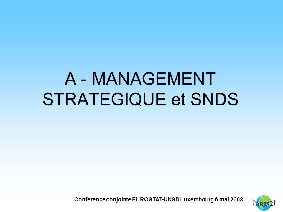 Conférence conjointe EUROSTAT-UNSD Luxembourg 6 mai 2008 A - MANAGEMENT STRATEGIQUE et SNDS