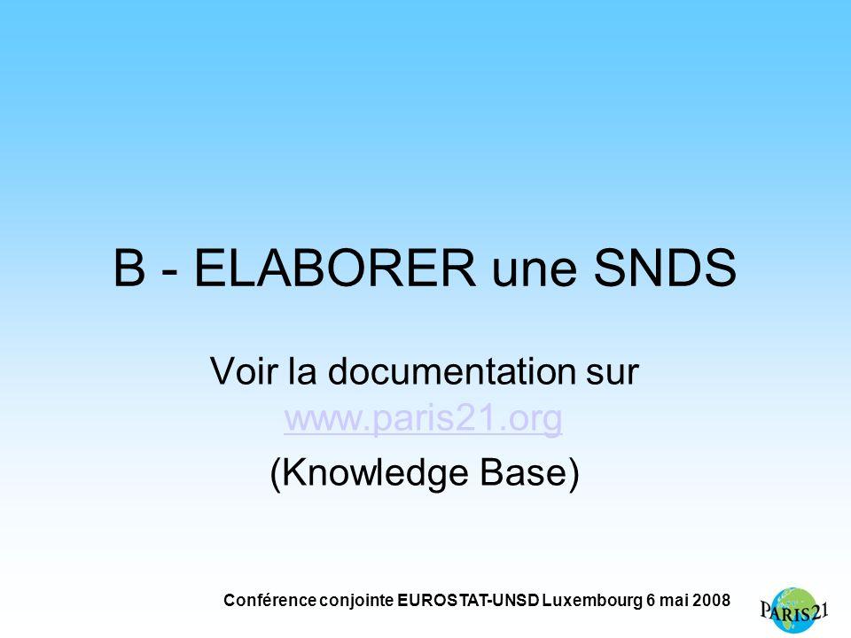 Conférence conjointe EUROSTAT-UNSD Luxembourg 6 mai 2008 B - ELABORER une SNDS Voir la documentation sur www.paris21.org www.paris21.org (Knowledge Base)
