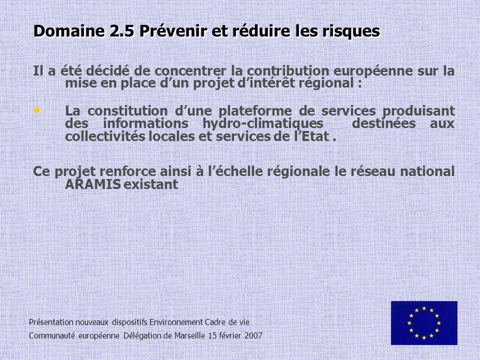 Domaine 2.5 Prévenir et réduire les risques Il a été décidé de concentrer la contribution européenne sur la mise en place dun projet dintérêt régional