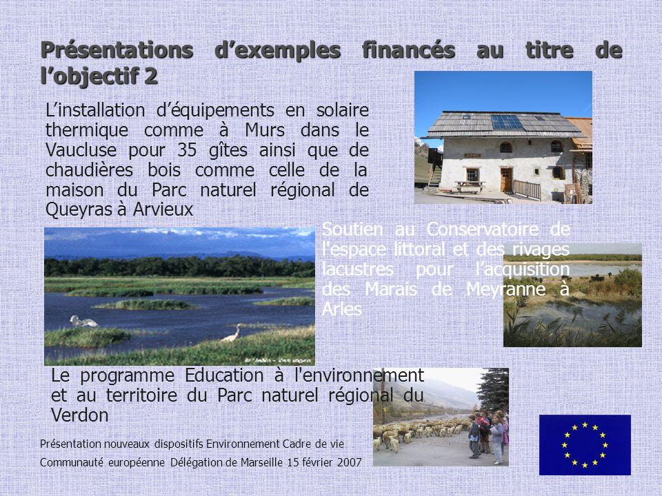 Présentations dexemples financés au titre de lobjectif 2 Présentation nouveaux dispositifs Environnement Cadre de vie Communauté européenne Délégation