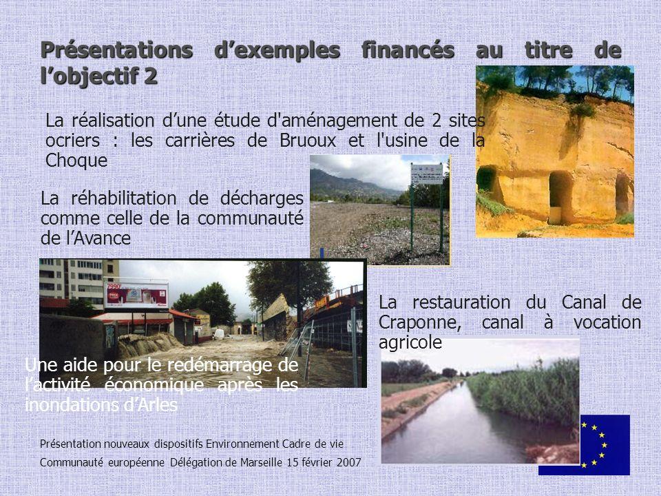 Présentation nouveaux dispositifs Environnement Cadre de vie Communauté européenne Délégation de Marseille 15 février 2007 Présentations dexemples fin
