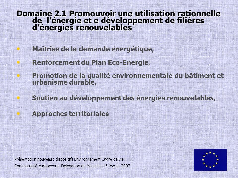 Domaine 2.1 Promouvoir une utilisation rationnelle de lénergie et e développement de filières dénergies renouvelables Maîtrise de la demande énergétiq