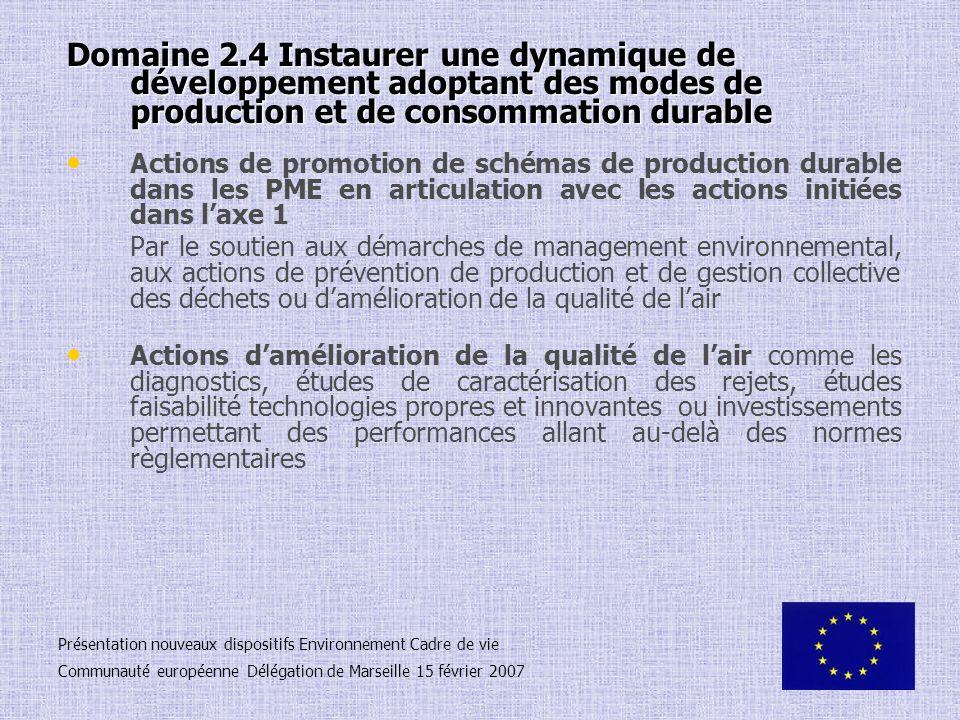 Domaine 2.4 Instaurer une dynamique de développement adoptant des modes de production et de consommation durable Actions de promotion de schémas de pr