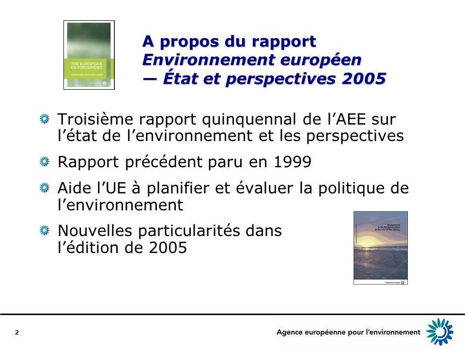 2 A propos du rapport Environnement européen État et perspectives 2005 Troisième rapport quinquennal de lAEE sur létat de lenvironnement et les perspectives Rapport précédent paru en 1999 Aide lUE à planifier et évaluer la politique de lenvironnement Nouvelles particularités dans lédition de 2005