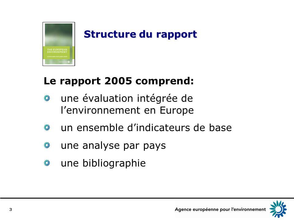3 Structure du rapport Le rapport 2005 comprend: une évaluation intégrée de lenvironnement en Europe un ensemble dindicateurs de base une analyse par pays une bibliographie
