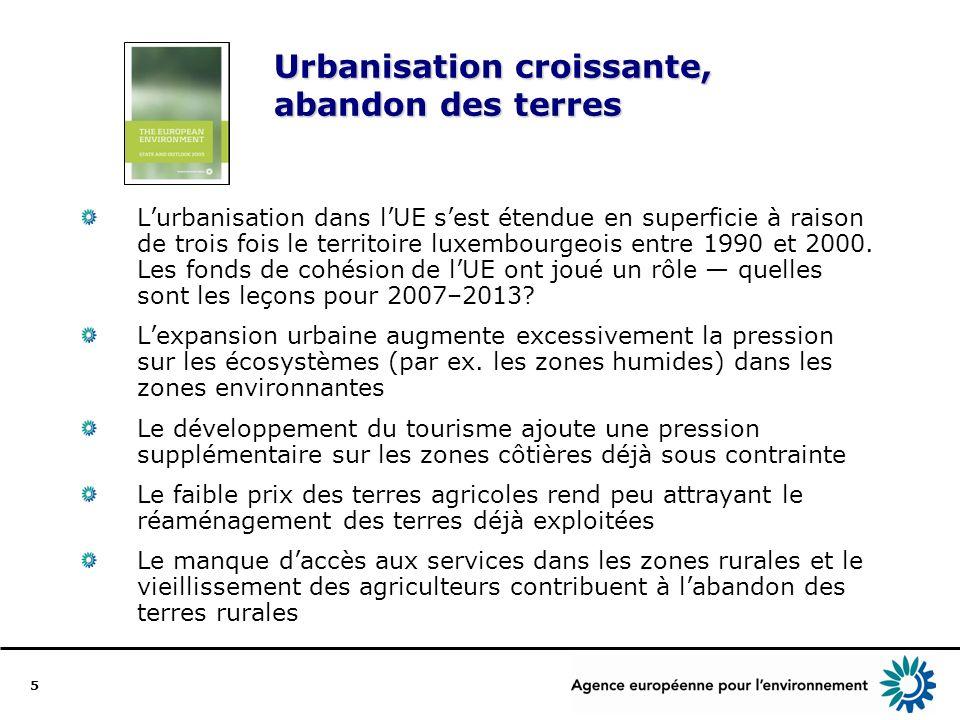 5 Urbanisation croissante, abandon des terres Lurbanisation dans lUE sest étendue en superficie à raison de trois fois le territoire luxembourgeois entre 1990 et 2000.