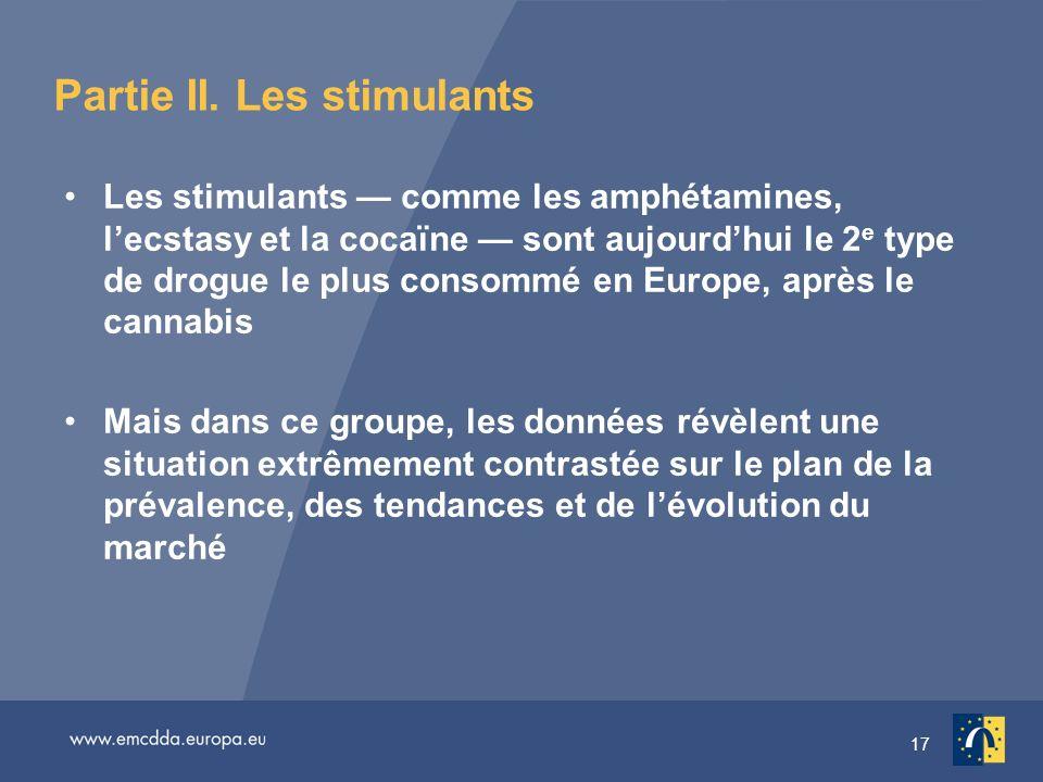 17 Partie II. Les stimulants Les stimulants comme les amphétamines, lecstasy et la cocaïne sont aujourdhui le 2 e type de drogue le plus consommé en E