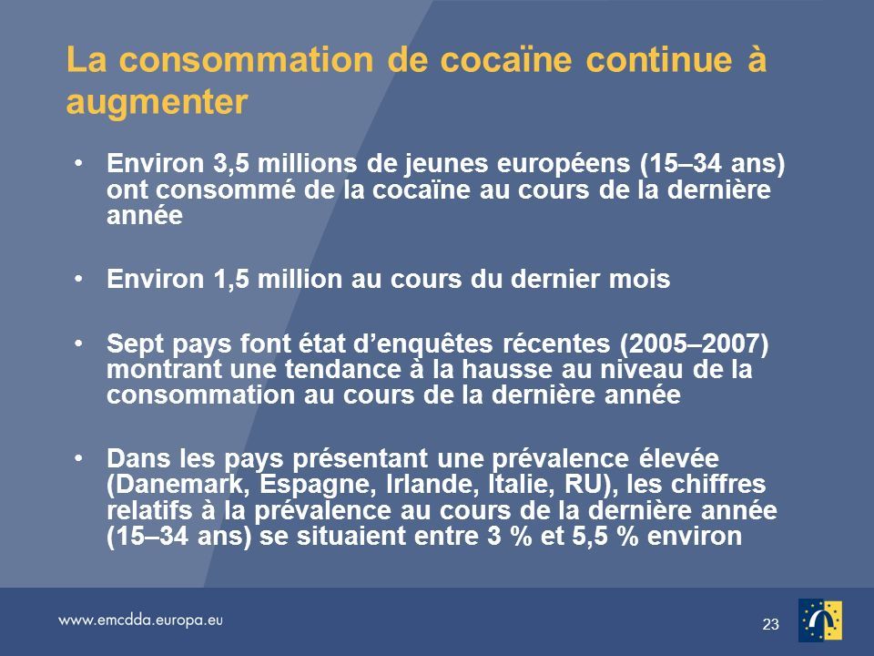 23 La consommation de cocaïne continue à augmenter Environ 3,5 millions de jeunes européens (15–34 ans) ont consommé de la cocaïne au cours de la dernière année Environ 1,5 million au cours du dernier mois Sept pays font état denquêtes récentes (2005–2007) montrant une tendance à la hausse au niveau de la consommation au cours de la dernière année Dans les pays présentant une prévalence élevée (Danemark, Espagne, Irlande, Italie, RU), les chiffres relatifs à la prévalence au cours de la dernière année (15–34 ans) se situaient entre 3 % et 5,5 % environ