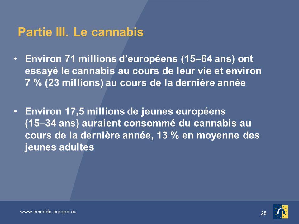 28 Partie III. Le cannabis Environ 71 millions deuropéens (15–64 ans) ont essayé le cannabis au cours de leur vie et environ 7 % (23 millions) au cour