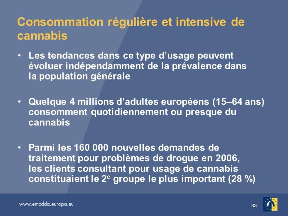 33 Consommation régulière et intensive de cannabis Les tendances dans ce type dusage peuvent évoluer indépendamment de la prévalence dans la populatio