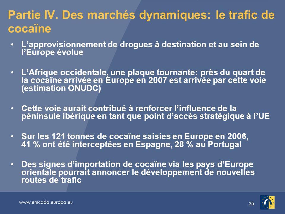 35 Partie IV. Des marchés dynamiques: le trafic de cocaïne Lapprovisionnement de drogues à destination et au sein de lEurope évolue LAfrique occidenta