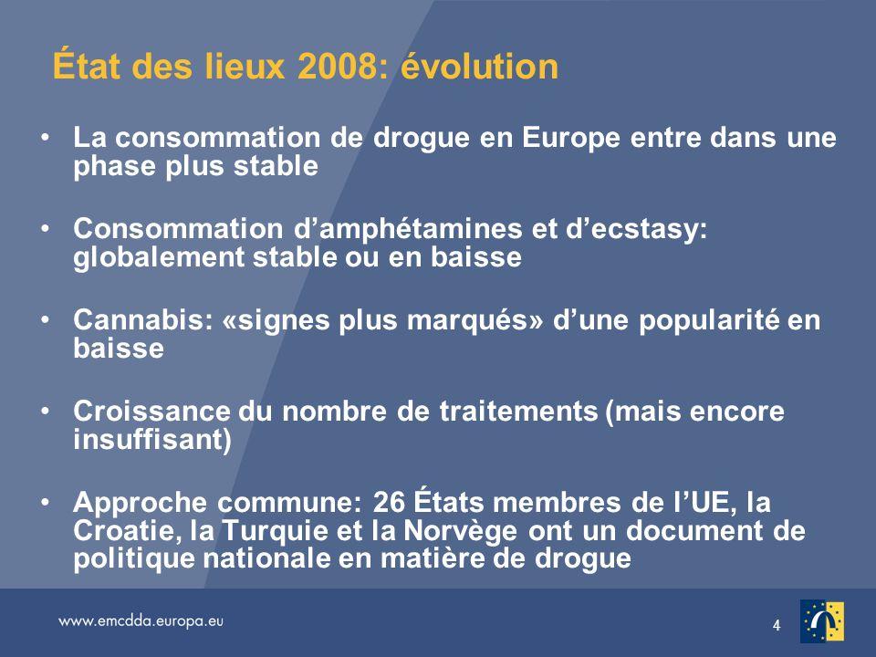 4 État des lieux 2008: évolution La consommation de drogue en Europe entre dans une phase plus stable Consommation damphétamines et decstasy: globalem