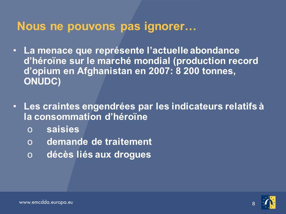 8 Nous ne pouvons pas ignorer… La menace que représente lactuelle abondance dhéroïne sur le marché mondial (production record dopium en Afghanistan en