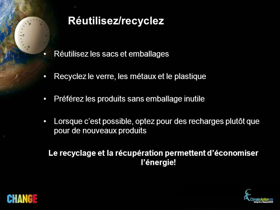 Réutilisez les sacs et emballages Recyclez le verre, les métaux et le plastique Préférez les produits sans emballage inutile Lorsque cest possible, op