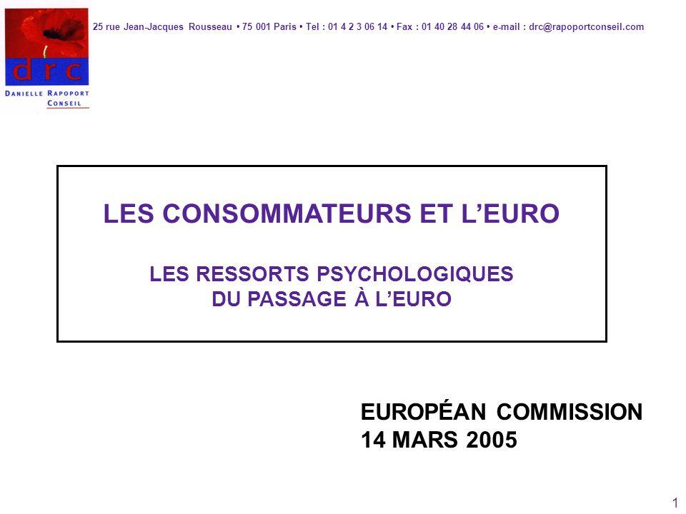 1 LES CONSOMMATEURS ET LEURO LES RESSORTS PSYCHOLOGIQUES DU PASSAGE À LEURO 25 rue Jean-Jacques Rousseau 75 001 Paris Tel : 01 4 2 3 06 14 Fax : 01 40