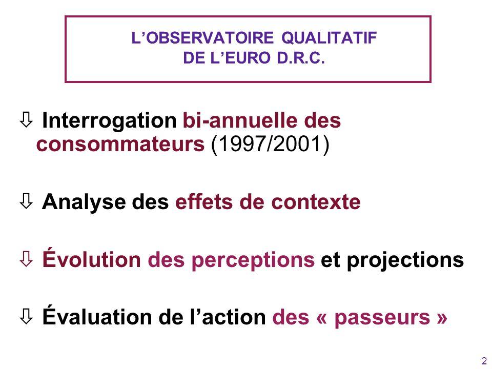 2 LOBSERVATOIRE QUALITATIF DE LEURO D.R.C. ò Interrogation bi-annuelle des consommateurs (1997/2001) ò Analyse des effets de contexte ò Évolution des