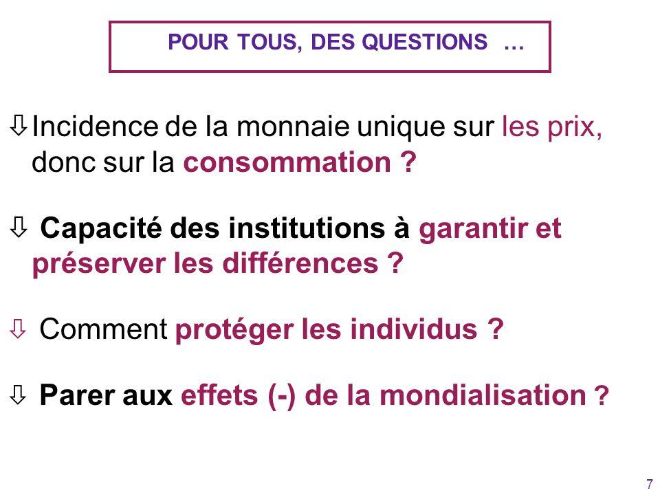 7 POUR TOUS, DES QUESTIONS … òIncidence de la monnaie unique sur les prix, donc sur la consommation ? ò Capacité des institutions à garantir et préser