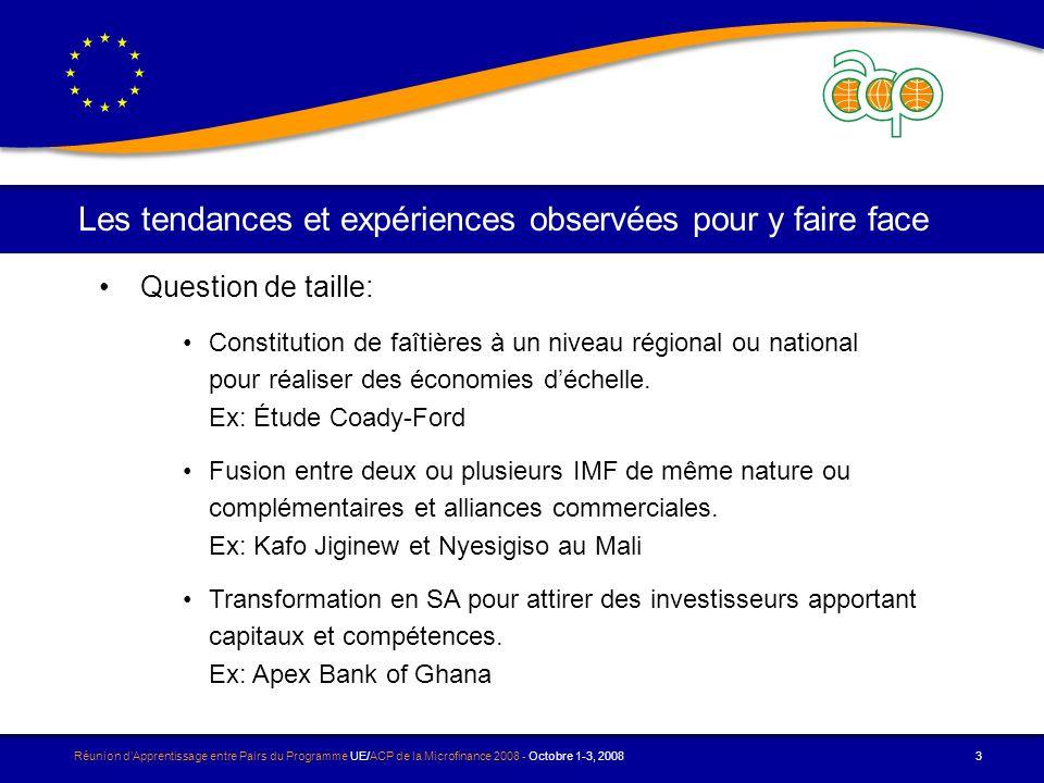 Réunion dApprentissage entre Pairs du Programme UE/ACP de la Microfinance 2008 - Octobre 1-3, 2008 3 Les tendances et expériences observées pour y faire face Question de taille: Constitution de faîtières à un niveau régional ou national pour réaliser des économies déchelle.