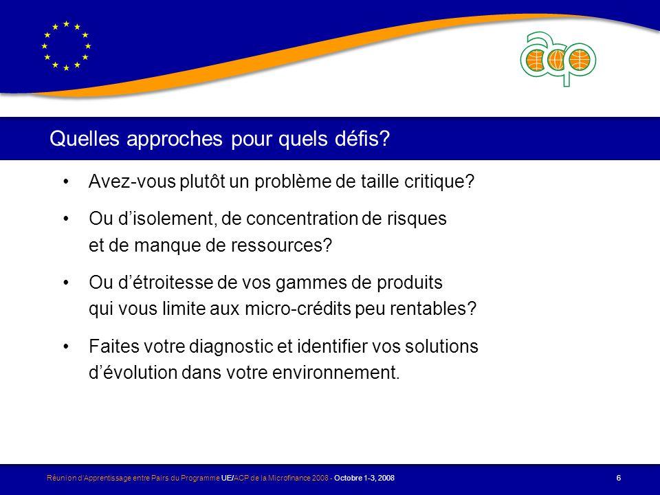 Réunion dApprentissage entre Pairs du Programme UE/ACP de la Microfinance 2008 - Octobre 1-3, 2008 7 Les cafés discussions Nos trois sessions de cafés discussions porteront sur ces trois thèmes: 1.Comment changer déchelle.