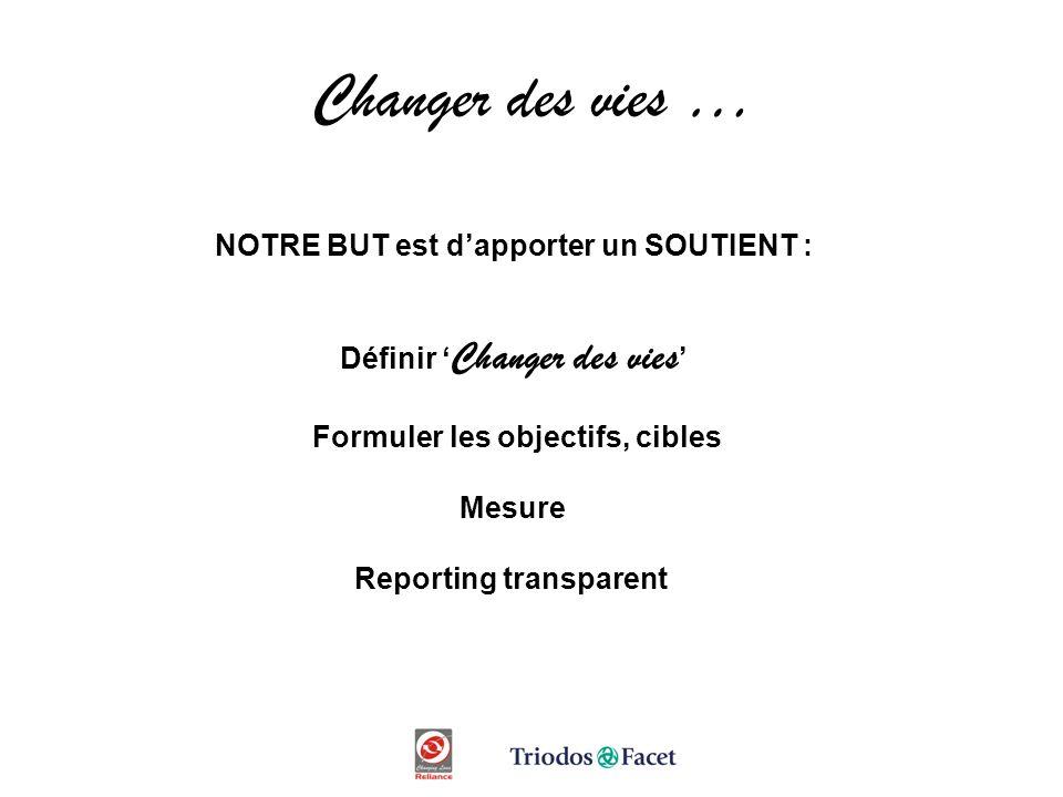 Changer des vies … NOTRE BUT est dapporter un SOUTIENT : Définir Changer des vies Formuler les objectifs, cibles Mesure Reporting transparent