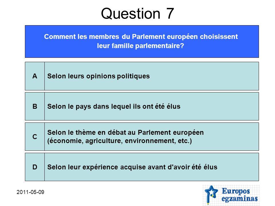 2011-05-09 Question 7 Comment les membres du Parlement européen choisissent leur famille parlementaire? Selon leurs opinions politiquesASelon le pays