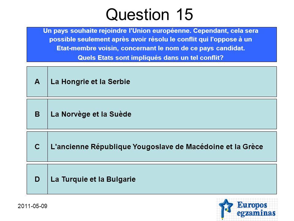 2011-05-09 Question 15 Un pays souhaite rejoindre l'Union européenne. Cependant, cela sera possible seulement après avoir résolu le conflit qui l'oppo