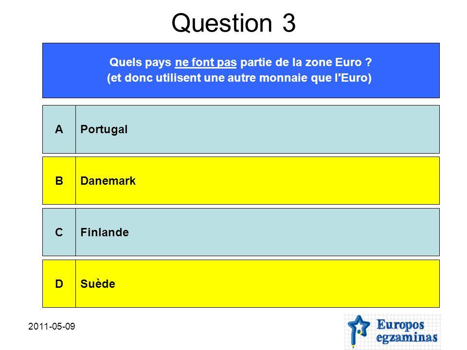 2011-05-09 Question 9 Parmi ces institutions, laquelle/lesquelles n est pas/ ne sont pas une institution de l Union européenne.
