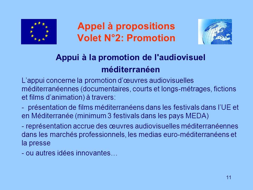 11 Appel à propositions Volet N°2: Promotion Appui à la promotion de l'audiovisuel méditerranéen Lappui concerne la promotion dœuvres audiovisuelles m