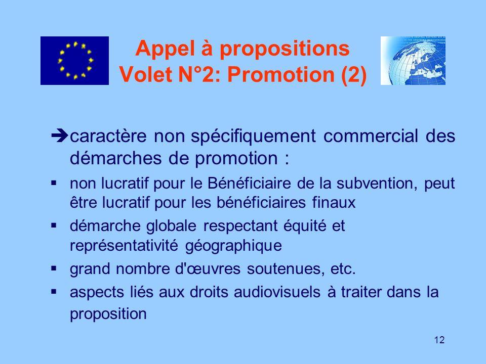 12 Appel à propositions Volet N°2: Promotion (2) caractère non spécifiquement commercial des démarches de promotion : non lucratif pour le Bénéficiair