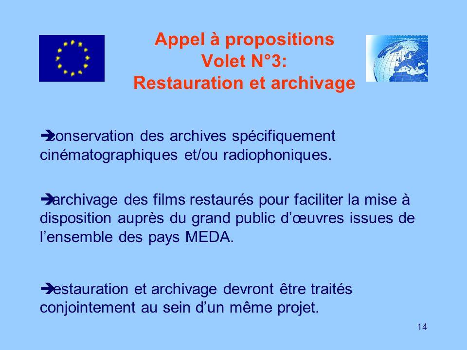 14 Appel à propositions Volet N°3: Restauration et archivage conservation des archives spécifiquement cinématographiques et/ou radiophoniques. archiva