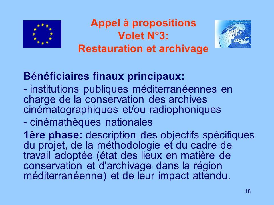 15 Appel à propositions Volet N°3: Restauration et archivage Bénéficiaires finaux principaux: - institutions publiques méditerranéennes en charge de l