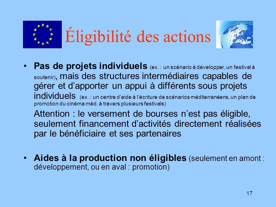 17 Éligibilité des actions Pas de projets individuels (ex. : un scénario à développer, un festival à soutenir), mais des structures intermédiaires cap