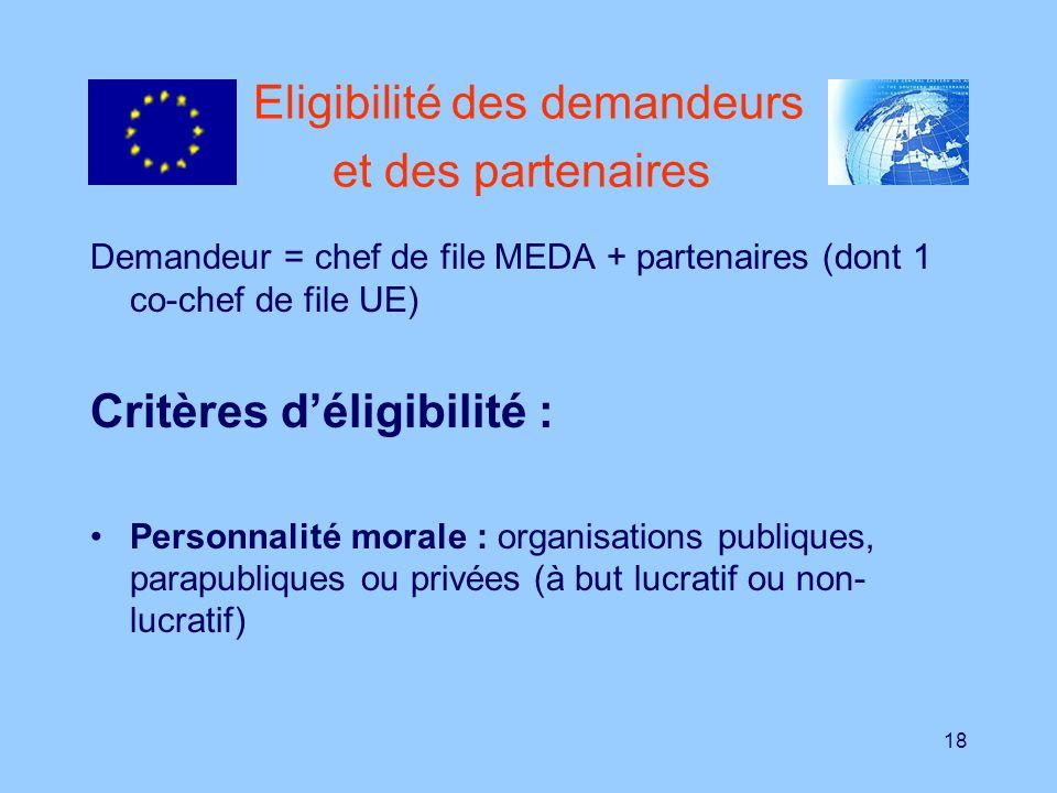 18 Eligibilité des demandeurs et des partenaires Demandeur = chef de file MEDA + partenaires (dont 1 co-chef de file UE) Critères déligibilité : Perso