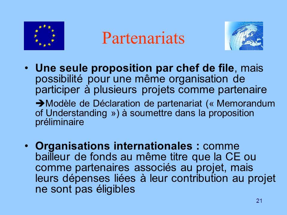21 Partenariats Une seule proposition par chef de file, mais possibilité pour une même organisation de participer à plusieurs projets comme partenaire