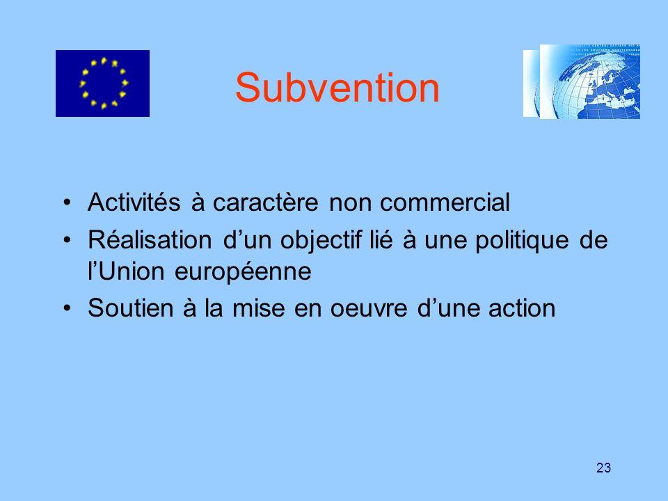23 Subvention Activités à caractère non commercial Réalisation dun objectif lié à une politique de lUnion européenne Soutien à la mise en oeuvre dune