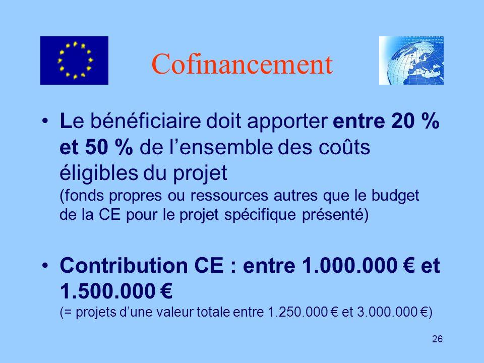 26 Cofinancement Le bénéficiaire doit apporter entre 20 % et 50 % de lensemble des coûts éligibles du projet (fonds propres ou ressources autres que l