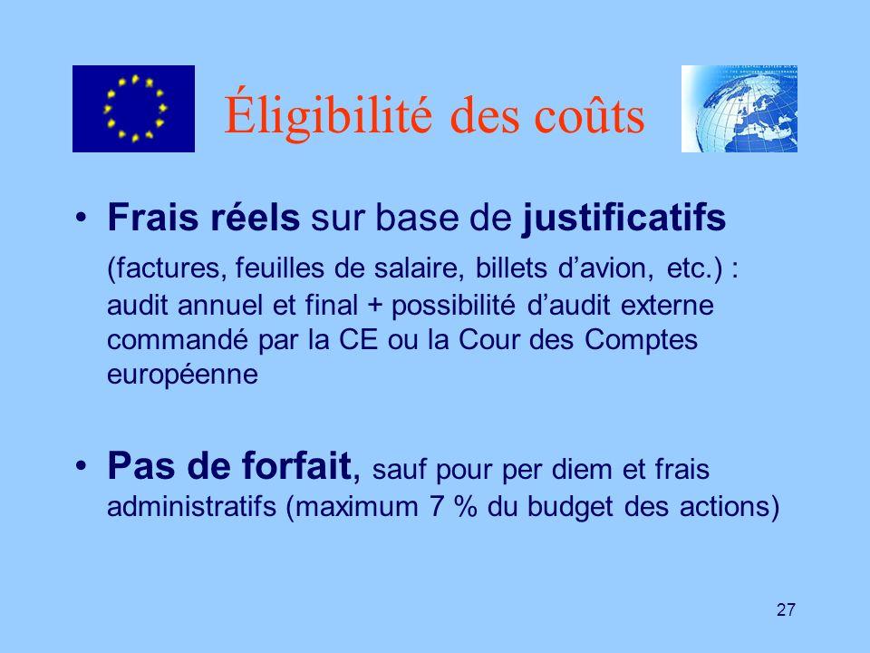 27 Éligibilité des coûts Frais réels sur base de justificatifs (factures, feuilles de salaire, billets davion, etc.) : audit annuel et final + possibi